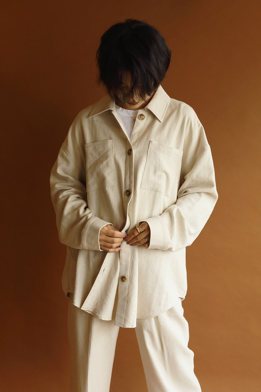 cotton slab big shirt