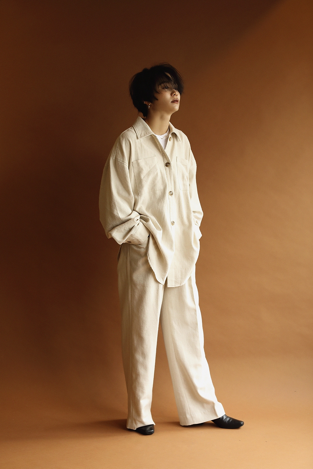cotton slab loose pants