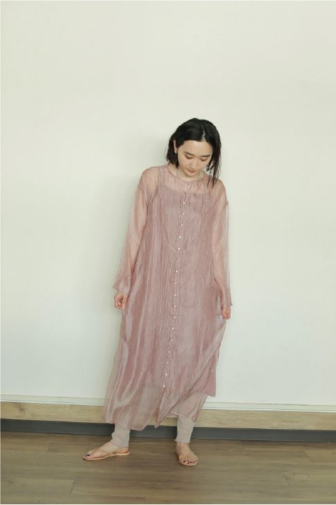 SHEAR LONG GOWN ONE PIECE
